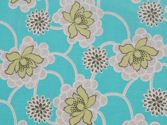 """RESERVED - 1 Yard and 29"""" of  Amy Butler - Daisy Chain - Clematis in Turquoise"""