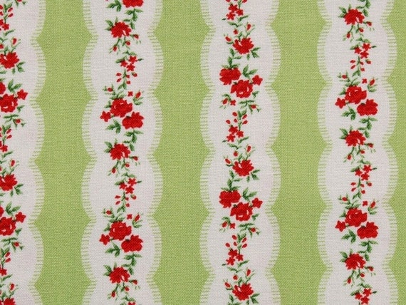 """END OF BOLT - 22"""" of American Retro c. 1945 by Windham Fabrics - Floral Stripe in green"""