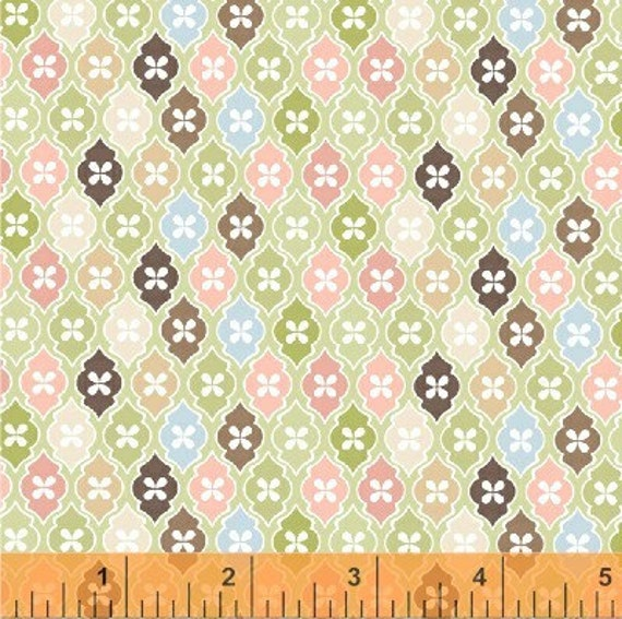 CLEARANCE  1 Yard of Flutter by Allison Jane Smith - Mosaic in green
