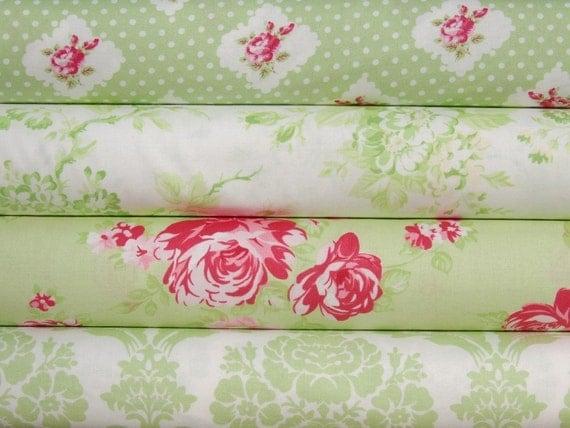 Half Yard bundle of 4 - Darla by Tany Whelan in Green - Mint
