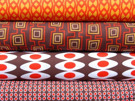 Half Yard Bundle of 4 - Neo Geo by Moe3 for Windham Fabrics in Orange and Red