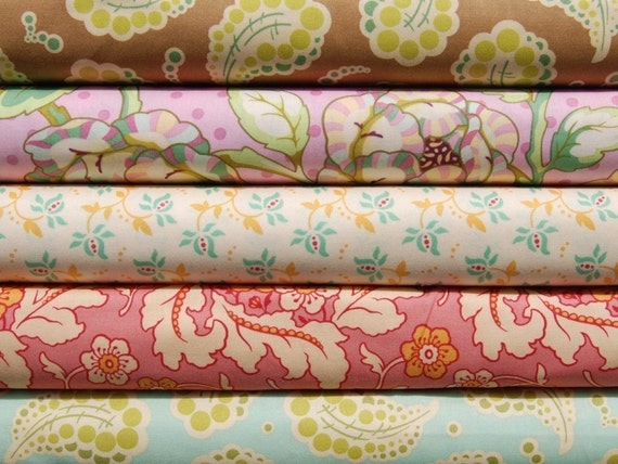 SALE Half Yard Bundle of 5 - Heather Bailey - Freshcut Collection in Mint - Pink - Brown