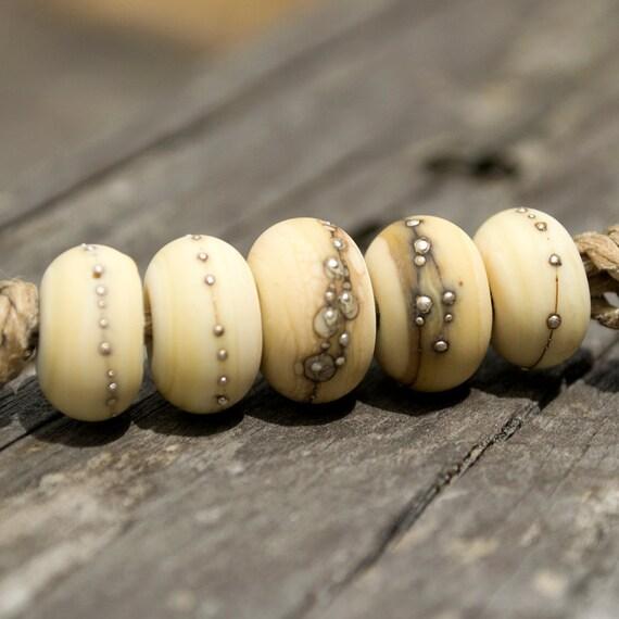 Ivory Organic Handmade Glass Beads - Silvered Ivory - PrimaDonnaBeads - SRA