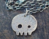 Skull Pendant, Sterling Silver Necklace, Metalwork Jewelry - Baby Skull