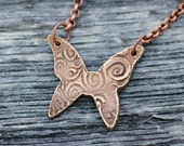 Butterfly Pendant Necklace Bronze Clay Bronzclay Jewelry