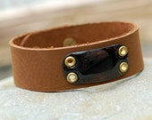 Brown Leather Cuff Bracelet Copper Enamel Enameled Jewelry Accessory Brown For Him Unisex