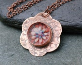 Glass Flower Bezel Set Cab Brass Pendant Necklace Boro Lampwork Steampunk Jewelry, Find Your Way Home