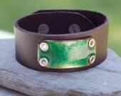 Black Leather Cuff Bracelet Copper Enamel Green Enameled Jewelry Unisex Lucky