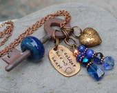Skeleton Key Necklace, Boro Lampwork Glass Beaded, Blue, Military Deployment Jewelry - A Soldier Has My Heart