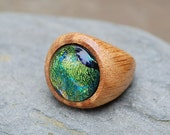 Wood Ring Glass Cab Fused Dichro Wooden Jewelry Green The Secret and the Stone Size 9
