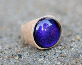 Wood Ring Glass Cab Fused Dichro Wooden Jewelry Plum  Size 5