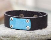 Black Leather Cuff Bracelet Copper Enamel Unisex Enameled Jewelry Accessory, Aqua Blue