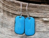 Small Turquoise Enamel Earrings Copper Dog Tag
