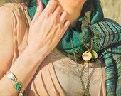Skeleton Key Necklace, Steampunk Jewelry, Boro Lampwork Glass Beaded Pendant, Enamel Charm - A Mother's Love