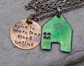 Enamel House Home Necklace Handstamped Brass Tag Pendant Enameled Jewelry Green - Where Your Story Begins
