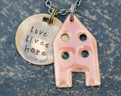 House Pendant Copper Enamel Home Necklace Handstamped Brass Tag Enameled Peach- Love Lives Here