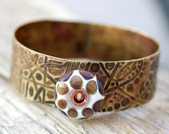 Brass Bangle Cuff Bracelet Lampwork Glass Bead Boro Jewelry - Animal Print