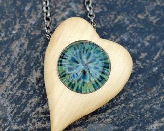 Heart Necklace - Wood Boro Glass Lampwork Dragon Heart Pendant, Blue Green - White Wood Collaboration