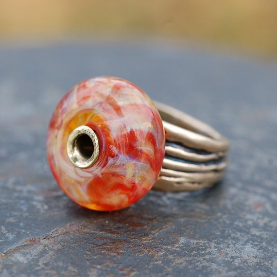 Bronze Boro Lampwork Glass Beaded Ring Autumn Fades