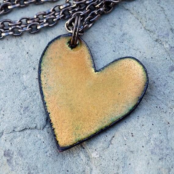 Enamel Heart Pendant Necklace Copper Enameled Jewelry Limon