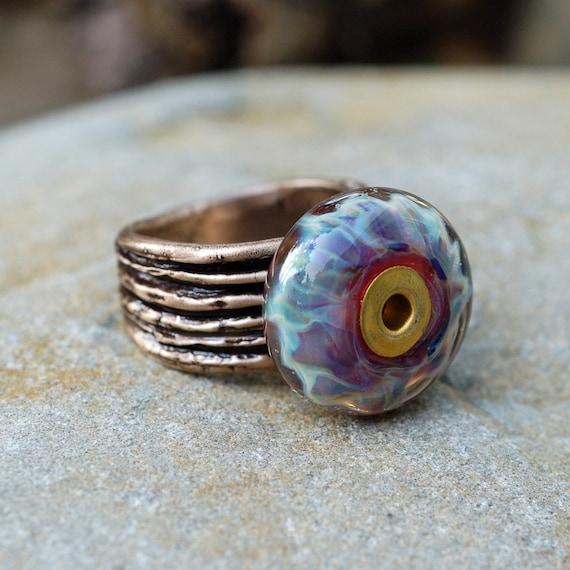 Bronze Ring Boro Lampwork Glass Beaded Jewelry Song of Purple