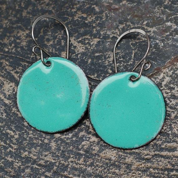 Enamel Earrings, Large Copper Disc, Enameled Jewelry, Turquoise, Aqua, Green - Seafoam