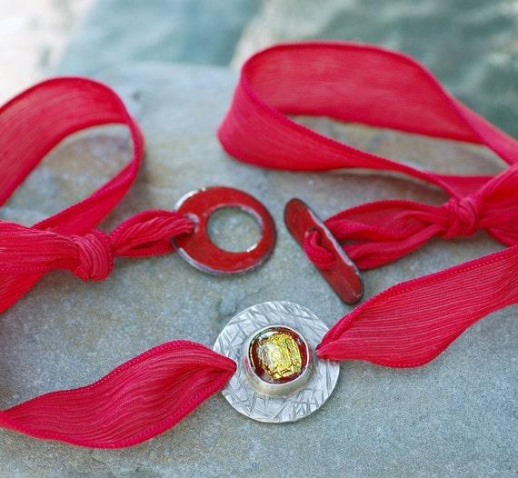 Silk Ribbon Bracelet Wrap Dichro Cab Bezel Set Jewelry,  Enamel Toggle - Red