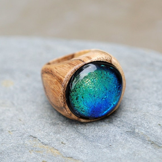 wood ring glass cab fused dichro wooden jewelry blue green