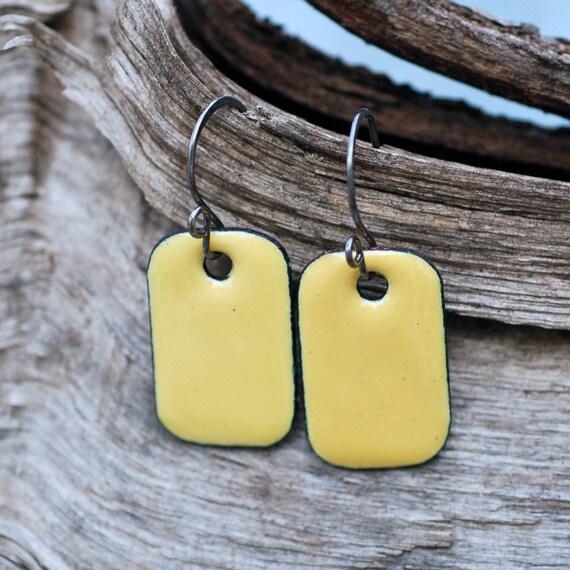 Enamel Earrings, Copper Rectangle, Small, Enameled Jewelry Yellow - Lemon