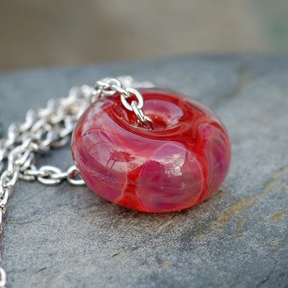 Glass Bead Necklace Boro Lampwork Focal Large Handmade Red Purple Pendant Jewelry - Scarlet