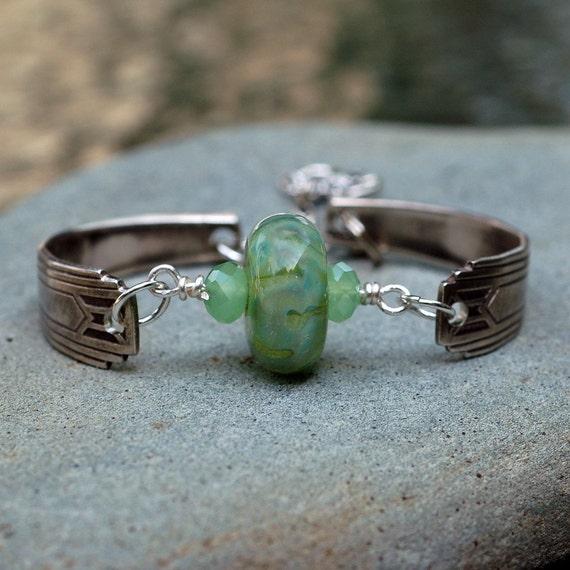 Spoon Bracelet Lampwork Silverware Boro Glass Bead Antique Jewelry - Claddagh