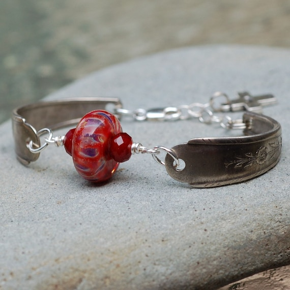 Lampwork Silverware Bracelet Boro Glass Bead Antique Spoon Jewelry - Faith