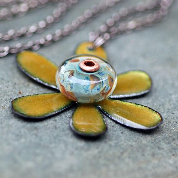Enamel Flower Boro Lampwork Glass Bead Pendant, Necklace, Copper, Green  Enameled Jewelry - Funky Flower