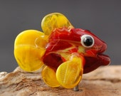 Red Flame Fish Lampwork Focal  Bead CAN be MADE into a NECKLACE by Melissa Vess Glass Art - sra