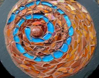 Blue Path Spiral Mandala on Slate