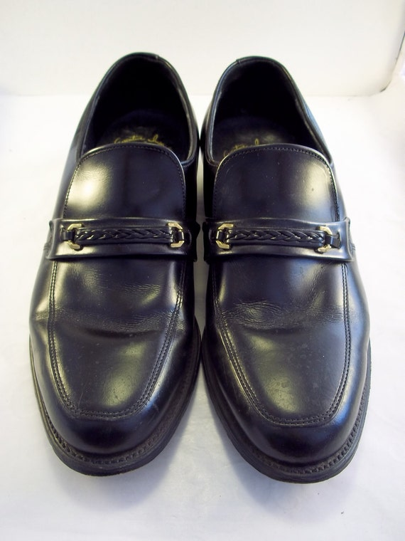 Black Loafers with Braided Strap Mens 8 1/2 Womens 10 1/2