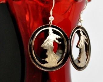 French Franc earrings- Copper 1 Franc earrings
