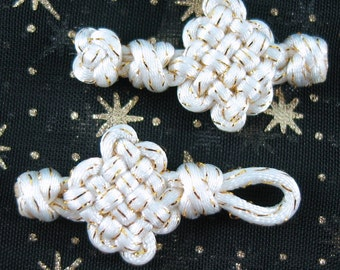 Chinese knotting white pan chang buttons - can be made with custom colors
