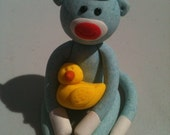 Yellow Duck Sock Monkey Keepsake Figurine