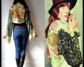 Vintage style velvet burnout bell sleeve Hippie Peacock KIMONO Jacket Coat worn by Florence Welch in NME