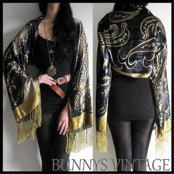 Vintage style Burnout Devore VELVET FRINGE Hippy Gypsy Boho KIMONO Jacket Coat Cape Bell Sleeve originally made for Florence and the Machine