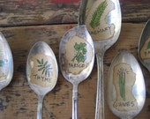 HERBS   5 Illustrated Vintage Silverware Spoon Garden and Plant Markers