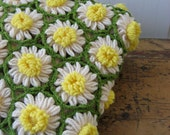 Vintage crochet daffodil throw blanket
