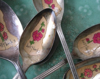 HOLLYHOCKS Silver Spoon Garden Marker