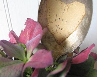 I Love You  Vintage Spoon Plant Marker