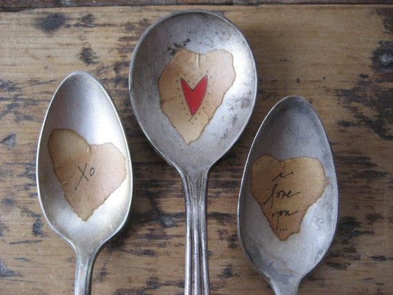 3 LOVE inspired Plant Marker Spoons Vintage Spoon Plant Marker