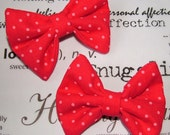 2 Small Pink Spotty Hair Bows