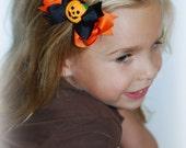 Layered Halloween Hair Bow with Pumpkin Center