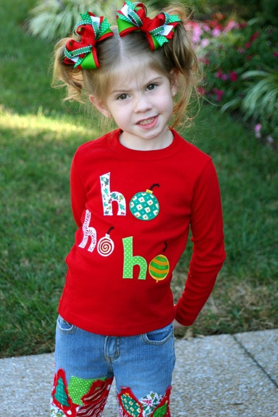 Ho Ho Ho Christmas Applique Tee Shirt... Custom Made in Sizes 2T through Girl Size 7\/8