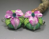 HANDMADE LAMPWORK EARRINGS pair glass beads Donna Millard white purple violet flowers sra